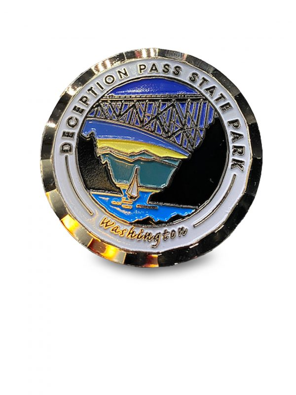 Deception Pass Park coin for sale. - front bridge view.