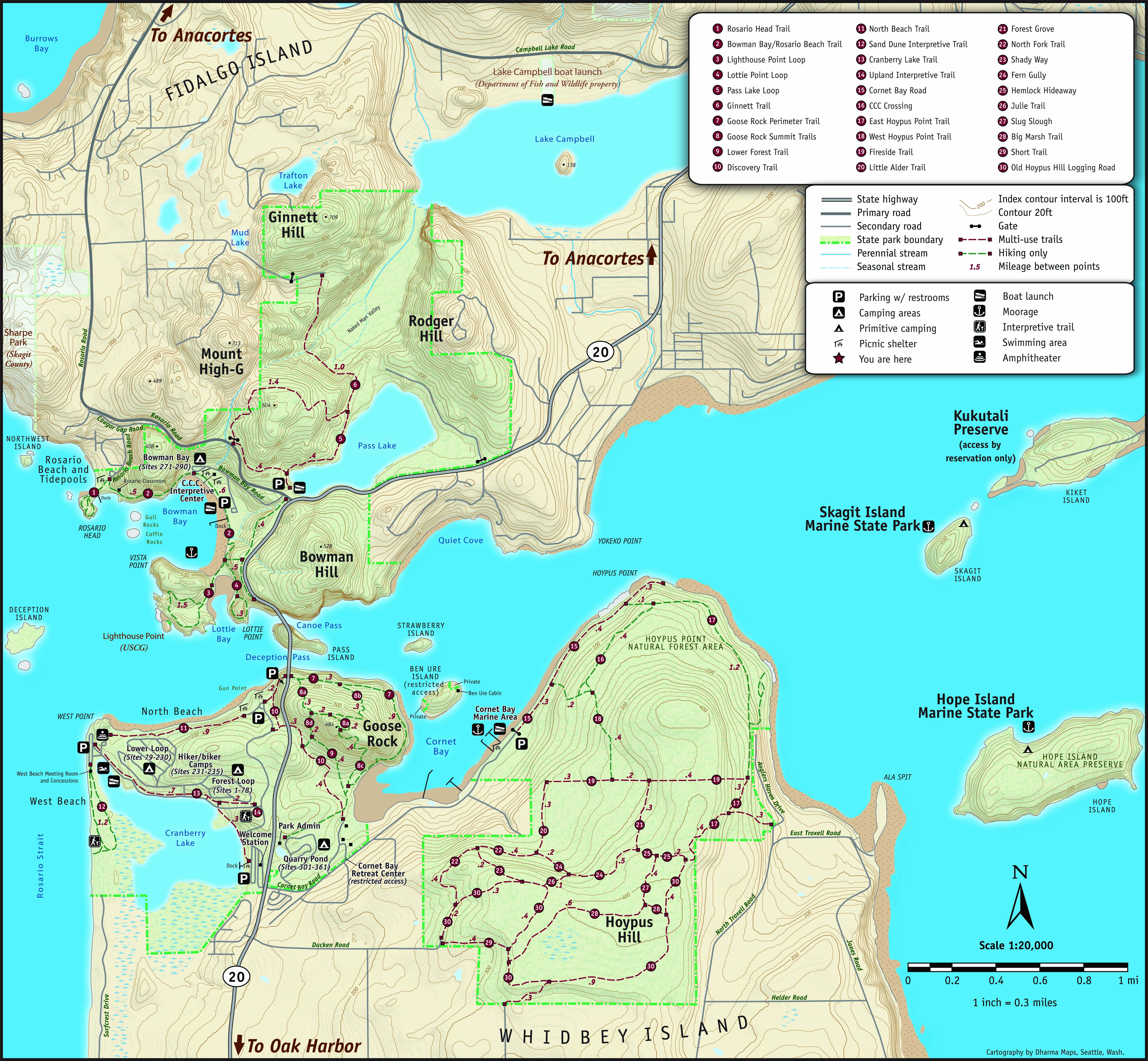 Deception Pass State Park Map Deception Pass Park Map   Deception Pass Park Foundation