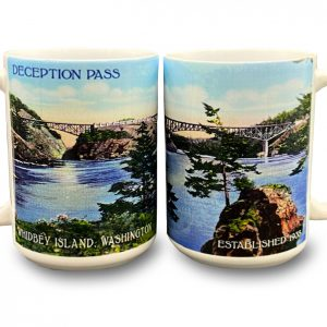 Mug - reminding park visitors of the natural beauty and architectural wonders at Deception Pass.
